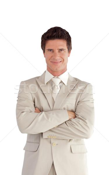 улыбаясь бизнесмен сложенный оружия белый человека Сток-фото © wavebreak_media