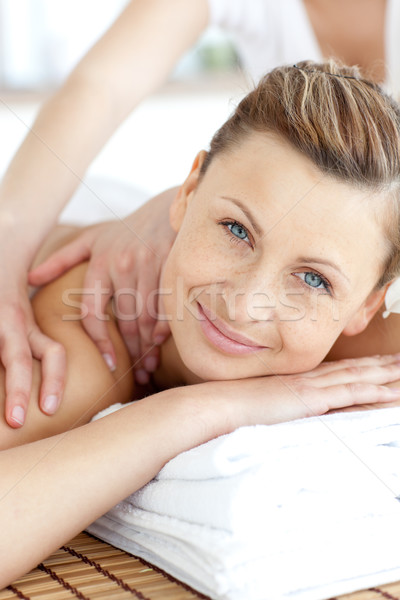Cheerful woman enjoying a back massage Stock photo © wavebreak_media