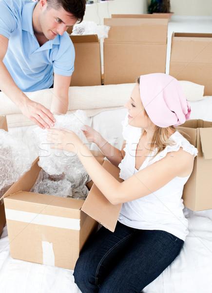честолюбивый коробки очки новый дом женщину Сток-фото © wavebreak_media