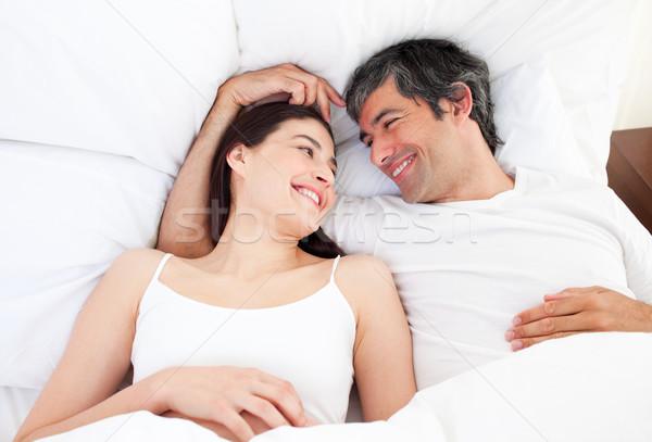 влюбленный пару кровать домой женщину Сток-фото © wavebreak_media