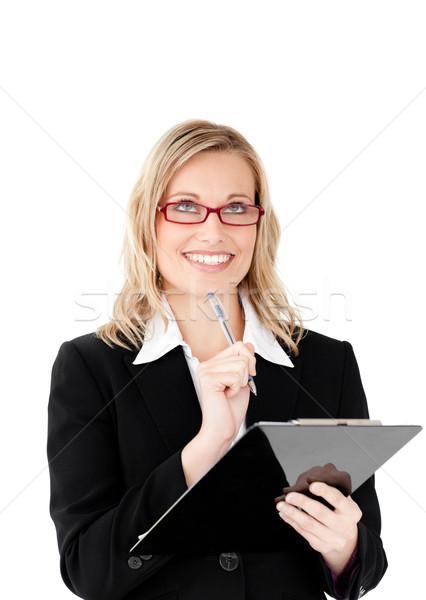 Nadenkend zakenvrouw witte pen Stockfoto © wavebreak_media