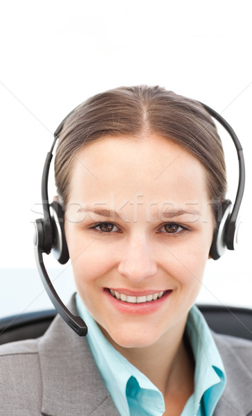 Young businesswoman on the phone with earpiece Stock photo © wavebreak_media
