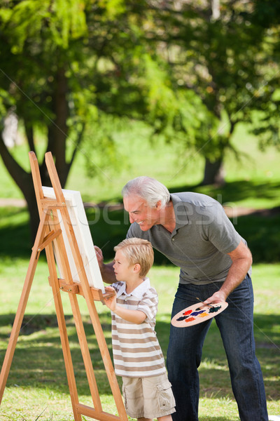 Nonno nipote pittura giardino felice arte Foto d'archivio © wavebreak_media