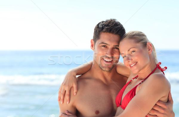 Pareja miel luna mujer playa feliz Foto stock © wavebreak_media