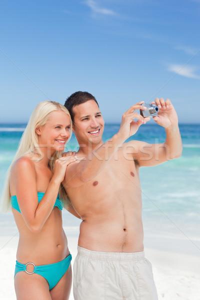 Stockfoto: Paar · foto · strand · vrouw · zomer