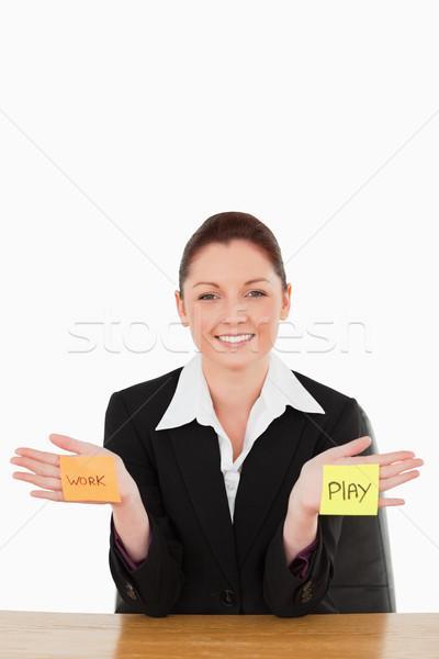 Portrait souriant femme d'affaires déchirée travaux jouer Photo stock © wavebreak_media