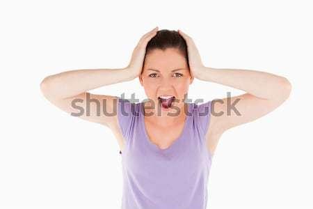 Chateado mulher posando em pé branco cara Foto stock © wavebreak_media