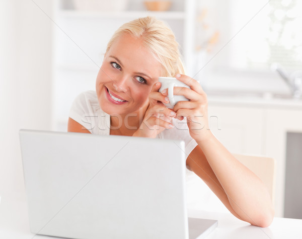 Woman having a coffee while using her laptop with a knowing smile Stock photo © wavebreak_media