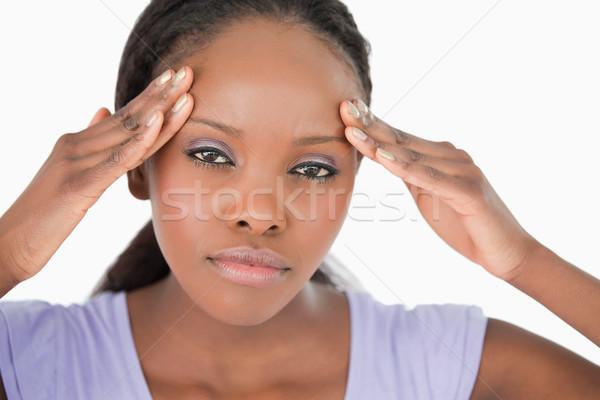 Genç kadın baş ağrısı beyaz arka plan imzalamak Stok fotoğraf © wavebreak_media