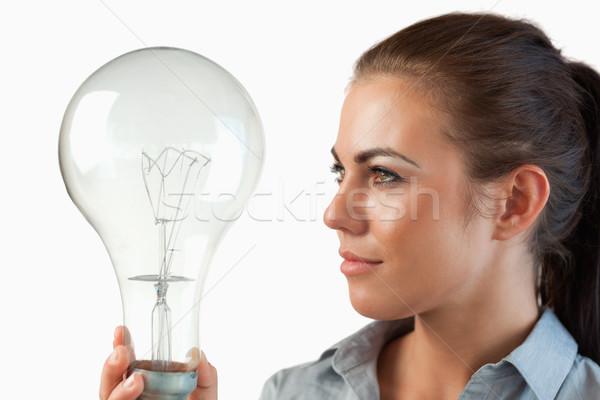 Empresária olhando enorme mãos branco Foto stock © wavebreak_media
