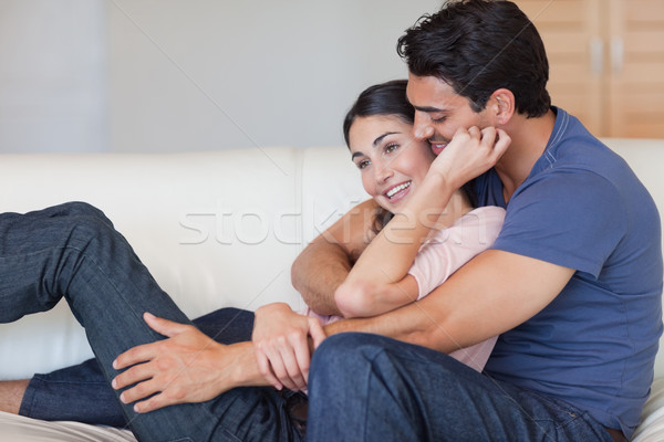 Amor casal outro sala de estar falante Foto stock © wavebreak_media