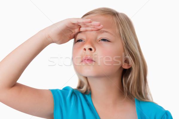 Ciddi kız bakıyor önde beyaz el Stok fotoğraf © wavebreak_media