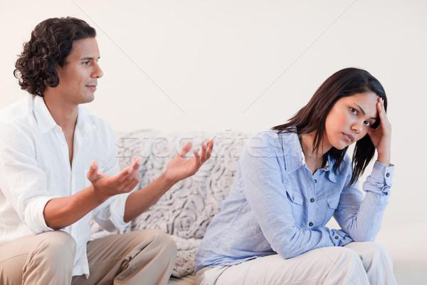 Fiatalember kanapé barátnő szeretet pár düh Stock fotó © wavebreak_media