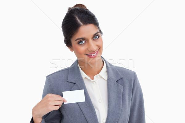 笑みを浮かべて 女性 ポインティング 名前 にログイン ストックフォト © wavebreak_media