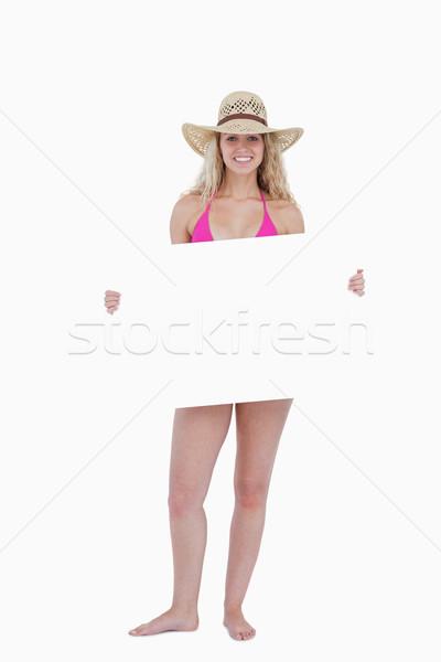 eaf89e9ab4a091 Glimlachend tiener roze zwempak poster Stockfoto © wavebreak media · Asian  tienermeisje ingesteld vector activiteit mooie