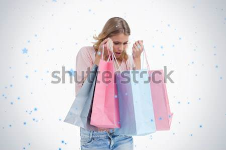 Kadın beyaz mutlu alışveriş Stok fotoğraf © wavebreak_media