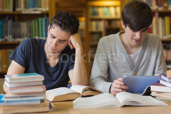 Erkek Öğrenciler eğitim kütüphane bir Stok fotoğraf © wavebreak_media