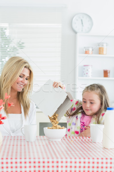 Mother and daughter having cereal at breakfast Stock photo © wavebreak_media