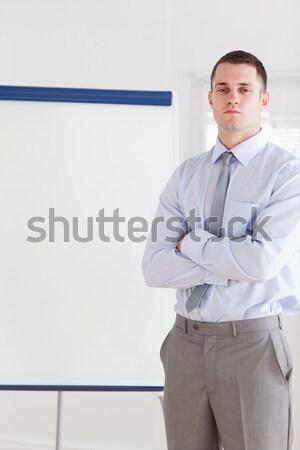 Man in blue apron giving thumbs up Stock photo © wavebreak_media