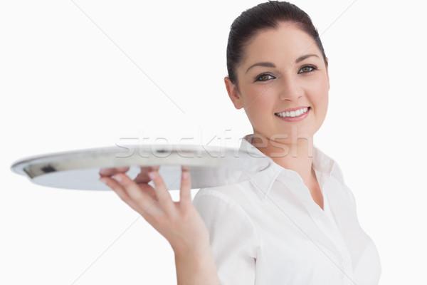 笑顔の女性 空っぽ 銀 トレイ 幸せ ストックフォト © wavebreak_media