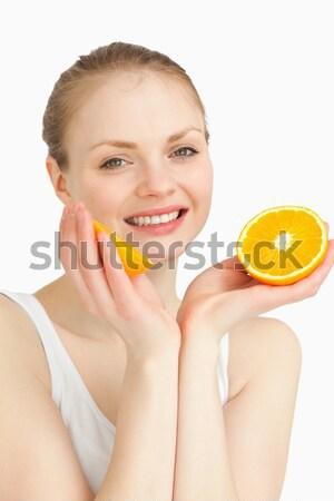 トップレス 女性 オレンジ 若い女性 白 ストックフォト © wavebreak_media