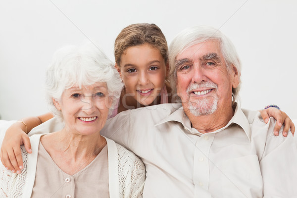 Torun dedesi gülen birlikte ev kız Stok fotoğraf © wavebreak_media