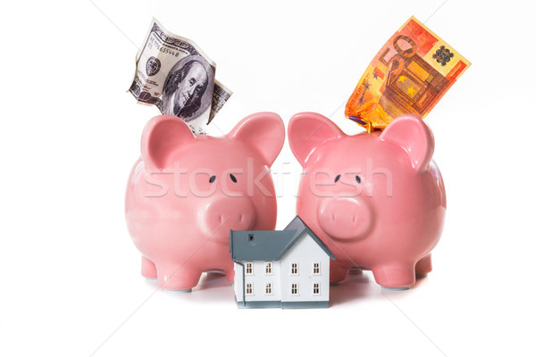 Dollar and euro notes sticking out of piggy banks with model hom Stock photo © wavebreak_media