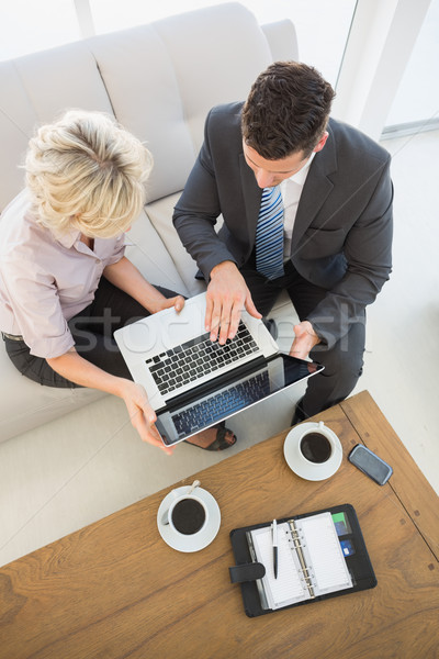 Businessman and his secretary with laptop and diary at home Stock photo © wavebreak_media
