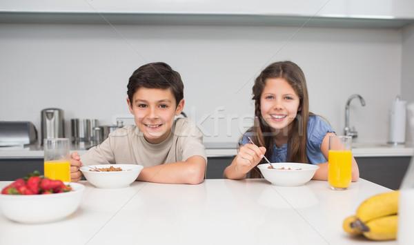 Young siblings enjoying breakfast in kitchen Stock photo © wavebreak_media
