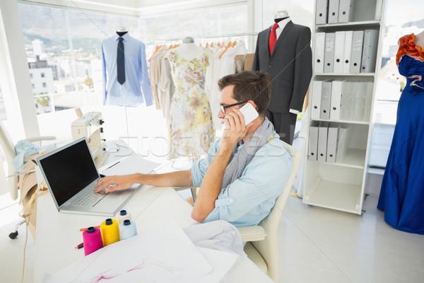 мужчины моде дизайнера используя ноутбук вид сбоку Сток-фото © wavebreak_media