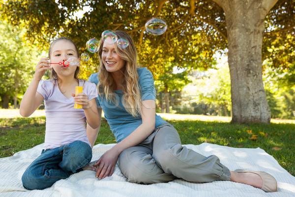 Mãe filha bolhas de sabão parque Foto stock © wavebreak_media
