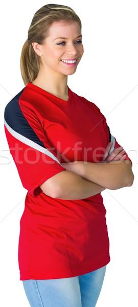 Csinos futball ventillátor piros fehér futball Stock fotó © wavebreak_media