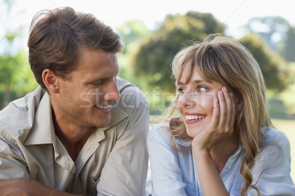Insouciance couple parc souriant autre Photo stock © wavebreak_media