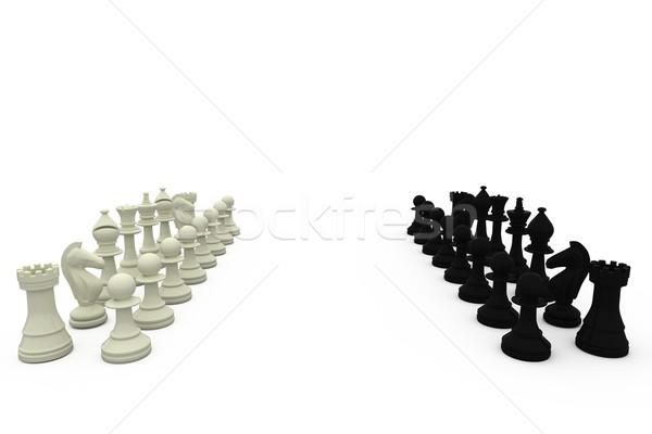 Foto d'archivio: Bianco · nero · bianco · scacchi · squadra · nero