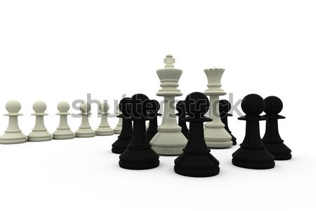 White king and queen surrounded by black pieces Stock photo © wavebreak_media