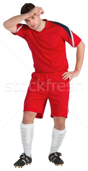 Futballista piros hegyorom fehér futball világ Stock fotó © wavebreak_media