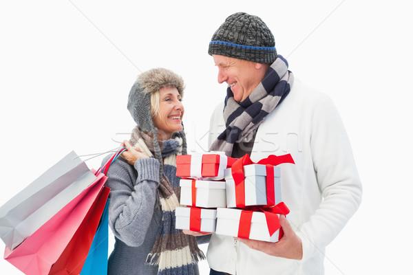 зрелый пару зима одежды подарки Сток-фото © wavebreak_media