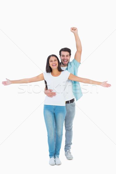 счастливым случайный пару вместе белый Сток-фото © wavebreak_media
