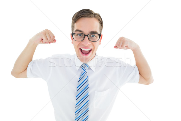 Geeky happy businessman flexing biceps Stock photo © wavebreak_media