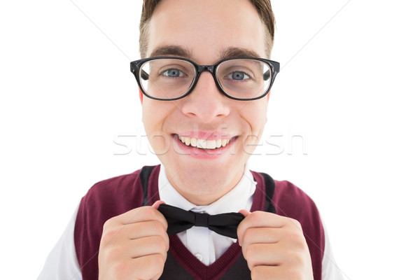 Nerdy hipster fixing his bow tie Stock photo © wavebreak_media