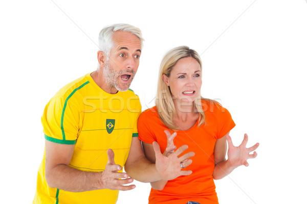 футбола вентилятор пару глядя впереди белый Сток-фото © wavebreak_media