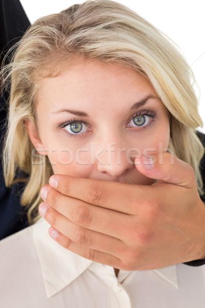 Mano jóvenes boca blanco femenino Foto stock © wavebreak_media