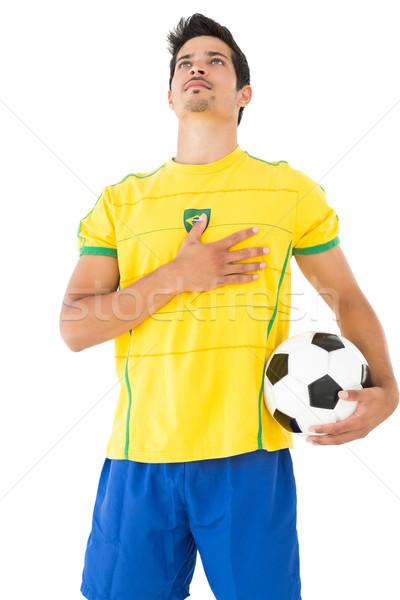 ストックフォト: リスニング · 国歌 · 黄色 · 白 · サッカー