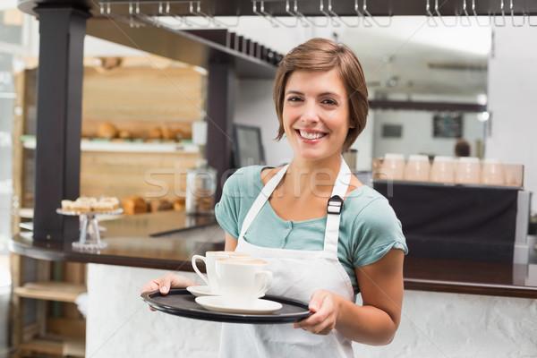 Serveerster dienblad coffeeshop business werknemer Stockfoto © wavebreak_media