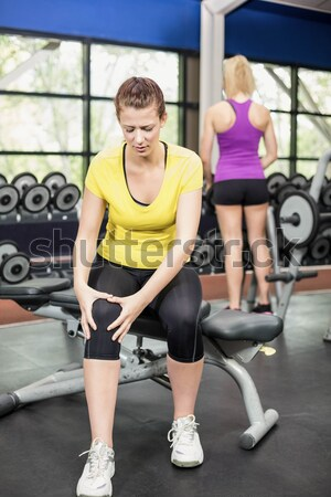 Fit brunette working out with kettlebell  Stock photo © wavebreak_media