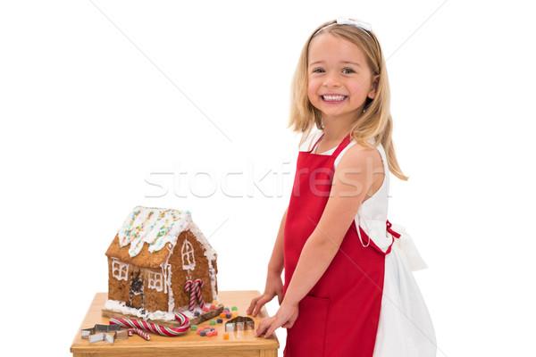 Little girl pão de especiarias casa branco Foto stock © wavebreak_media