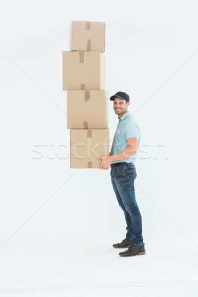Stock foto: Tragen · Boxen · weiß · Job