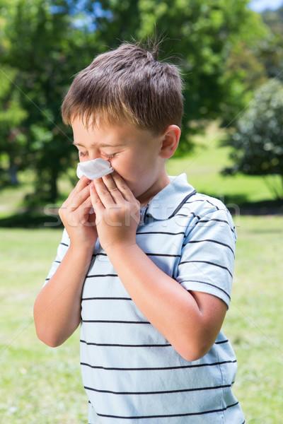 Little boy blowing his nose Stock photo © wavebreak_media