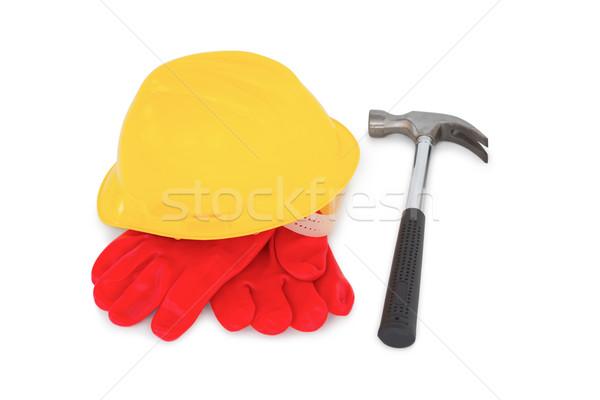Geel veiligheidshelm handschoenen hamer witte bouw Stockfoto © wavebreak_media