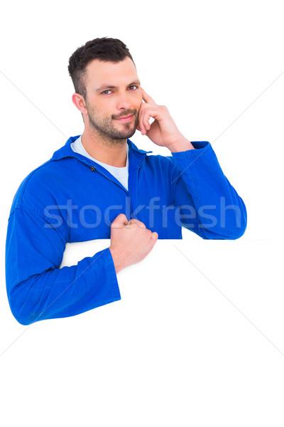 Jóképű szerelő plakát portré fehér férfi Stock fotó © wavebreak_media